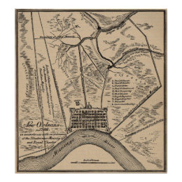 Vintage Map of New Orleans Louisiana (1798) Poster