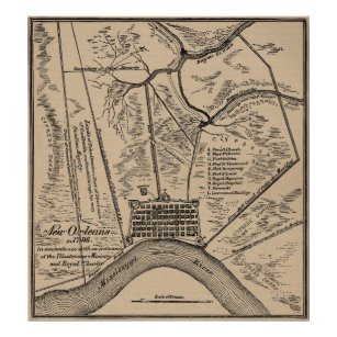 Antique New Orleans Map.Vintage Map Of New Orleans Louisiana 1798 Poster