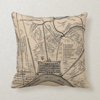 Vintage Map of New Orleans Louisiana (1798) Throw Pillow