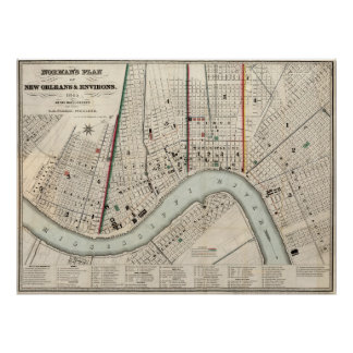 Vintage Map of New Orleans Louisiana (1845) Poster