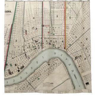 Vintage Map of New Orleans Louisiana (1845) Shower Curtain