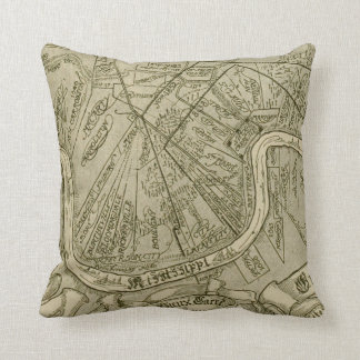 Vintage Map of New Orleans Louisiana (1919) Throw Pillow