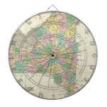 Vintage Map of New York (1827) Dartboard With Darts