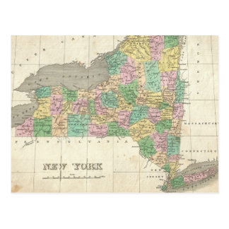 Vintage Map of New York (1827) Postcard