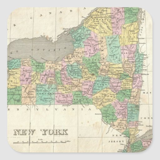 Vintage Map of New York (1827) Square Sticker