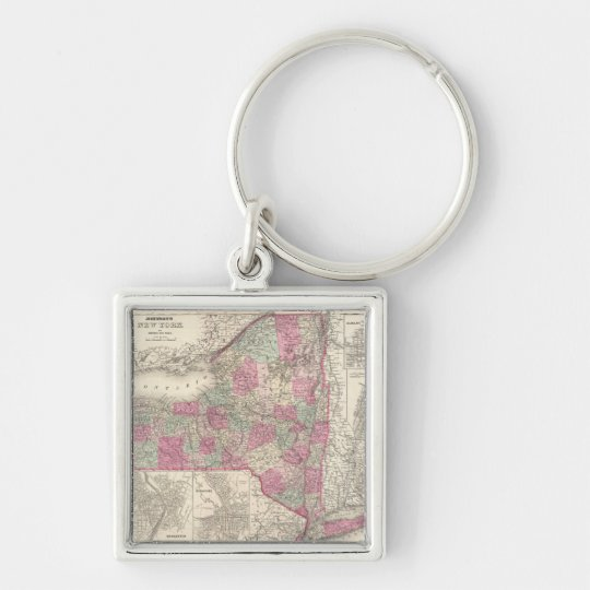 Vintage Map of New York (1864) Keychain
