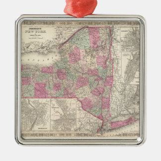 Vintage Map of New York (1864) Metal Ornament