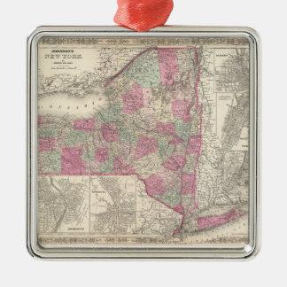 Vintage Map of New York (1864) Metal Ornament