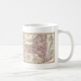 Vintage Map of New York (1864) Classic White Coffee Mug