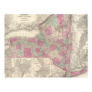 Vintage Map of New York (1864) Postcard
