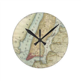 Vintage Map of New York (1869) Round Wallclocks