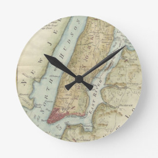 Vintage Map of New York (1869) Round Clock