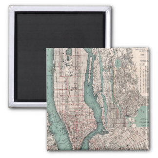 Vintage map of New York (1897) 2 Inch Square Magnet