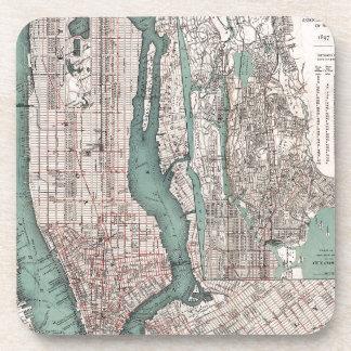 Vintage map of New York (1897) Beverage Coaster