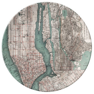 Vintage map of New York (1897) Dinner Plate