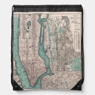 Vintage map of New York (1897) Drawstring Bag
