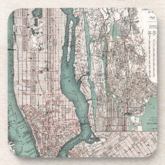 Vintage map of New York (1897) Drink Coaster