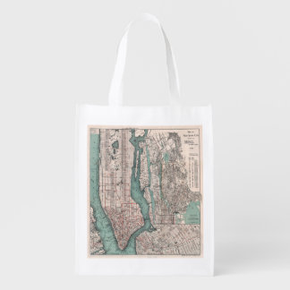 Vintage map of New York (1897) Grocery Bag