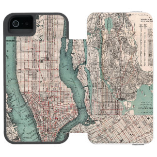 Vintage map of New York (1897) iPhone SE/5/5s Wallet Case