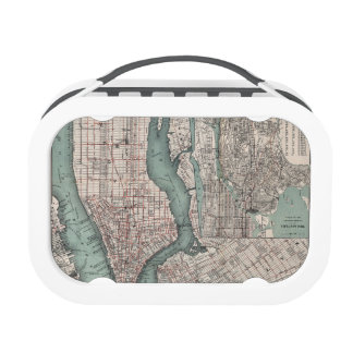Vintage map of New York (1897) Lunch Box