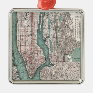 Vintage map of New York (1897) Metal Ornament