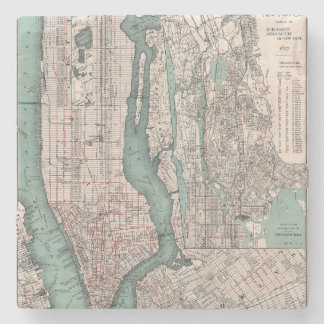 Vintage map of New York (1897) Stone Coaster