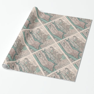 Vintage map of New York (1897) Wrapping Paper