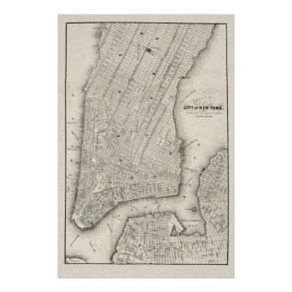 Vintage Map of New York & Brooklyn, 1860 Poster