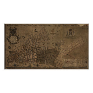 Vintage Map of New York City (1755) Poster