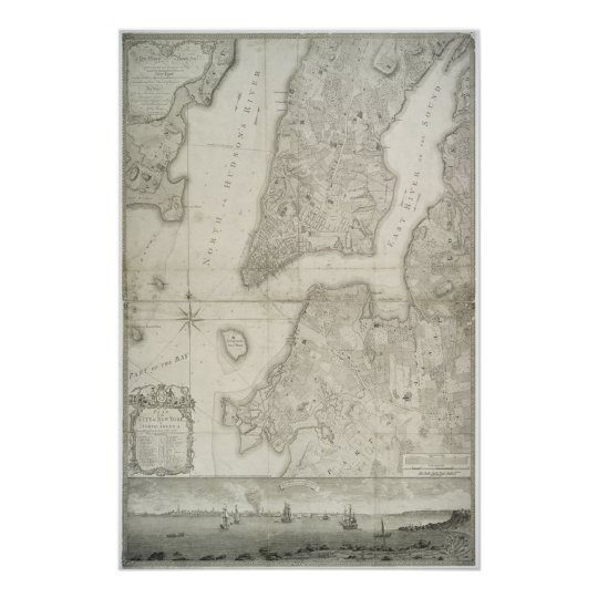 Map Of New York 1776.Vintage Map Of New York City 1776 Poster