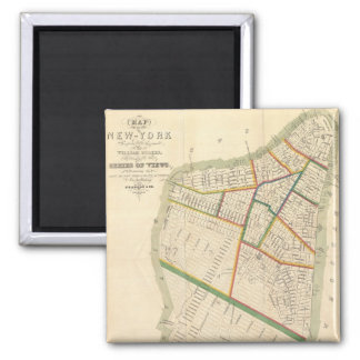 Vintage Map of New York City (1831) 2 Inch Square Magnet