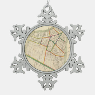 Vintage Map of New York City (1831) Snowflake Pewter Christmas Ornament