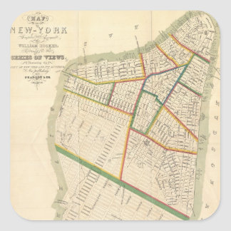 Vintage Map of New York City (1831) Square Sticker