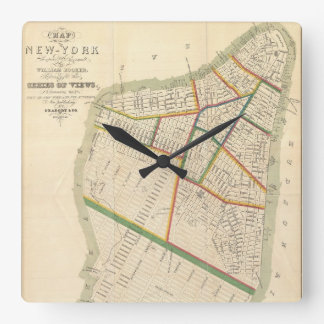 Vintage Map of New York City (1831) Square Wall Clock
