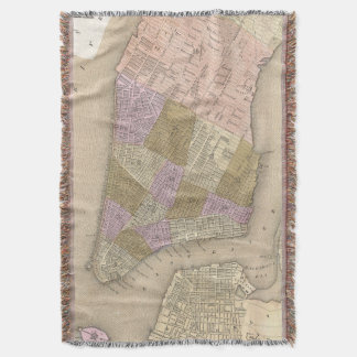 Vintage Map of New York City (1839) Throw