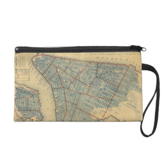 Vintage Map of New York City (1846) Wristlet Purses