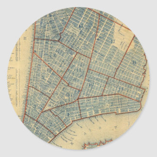 Vintage Map of New York City (1846) Classic Round Sticker