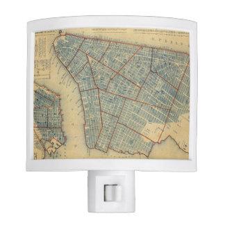 Vintage Map of New York City (1846) Night Lite