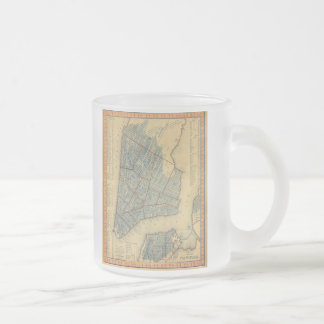 Vintage Map of New York City (1846) Frosted Glass Coffee Mug