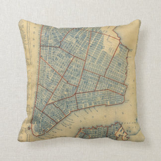 Vintage Map of New York City (1846) Throw Pillows