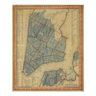 Vintage Map of New York City (1846) Poster