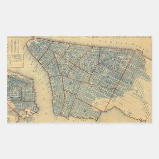 Vintage Map of New York City (1846) Rectangle Sticker