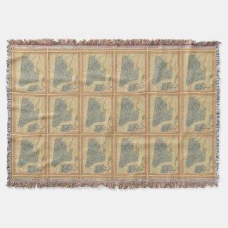 Vintage Map of New York City (1846) Throw Blanket