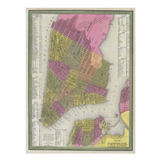 Vintage Map of New York City (1848) Poster