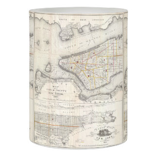 Vintage Map of New York City (1860) 2 Flameless Candle