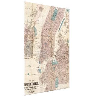 Vintage Map of New York City (1867) Canvas Print