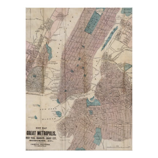 Vintage Map of New York City (1867) Poster