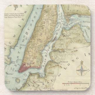 Vintage Map of New York City (1869) Beverage Coaster