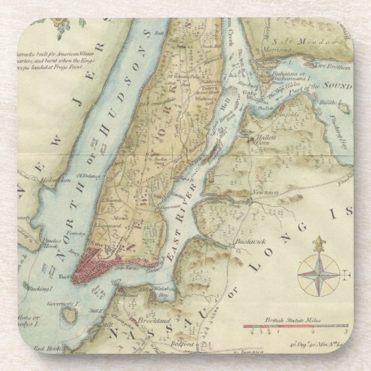 Vintage Map of New York City (1869) Beverage Coaster