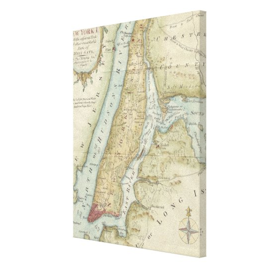 Vintage Map of New York City (1869) Canvas Print